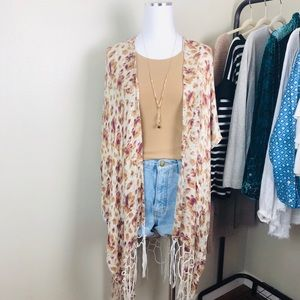 Tops - Ecote Urban Outfitters Floral Fringe Shawl